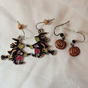 2/$15 VTG 2x Halloween Witch & Pumpkin Earrings